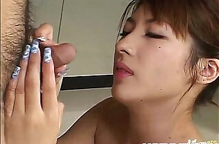 Japanese AV Model gets fingers and sucked dong in hairy poonanie