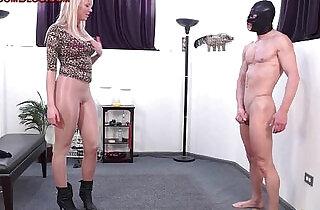 Blonde femdom amazon dominates in pantyhose