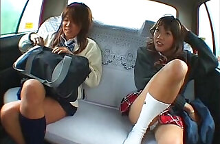 Asian schoolgirl and taxi driver making sex in the car