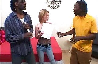 Interracial blonde threesome