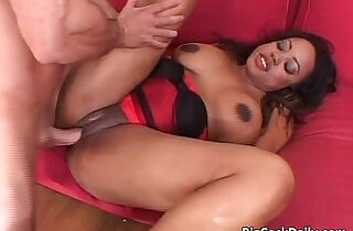 Hot ebony with big juggs blows hard