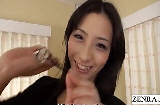 Slim and tall Japanese woman confidently strips naked Subtitled