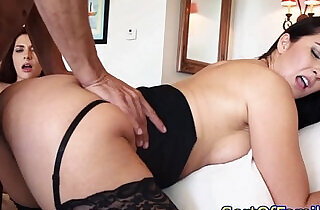 Taboo threeway with stepmom in stockings