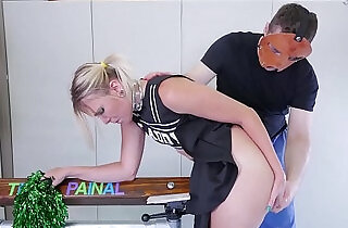 Big ass cheerleader in braces gets nasty ass to mouth treatment