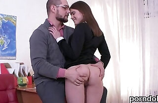 Sweet bookworm was teased and fucked by her senior teacher
