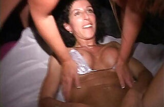 Orgy MILF w red head cunt hair Sucks fucks at EXXXotica afterparty