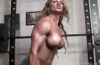 Naked Female Bodybuilder Redhead Cougar Topless in Gym