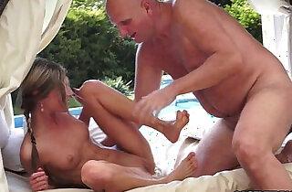 Teen cutie doris loves to play with grandpas