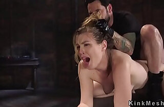 Sexy slave got anal strapon fuck training