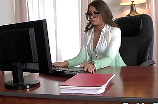 Business babe with glasses drools on cock