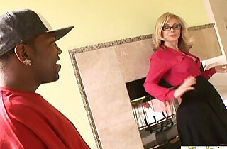 Enormous black monster cocks make this mature blonde a really happy woman