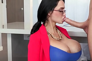 Busty milf sucks dick before fucking sub
