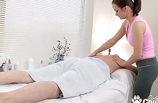 Horny little trollop fucks and sucks her massage client
