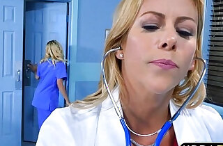 Teen nurse and MILF doctor sex with male patient