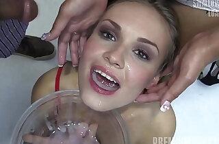 Premium Bukkake Angela swallows huge mouthful cumshots
