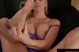 Busty amateur blonde milf julia ann kneels pov to suck your big cock