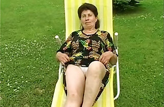 Granny gets anally fucked hard by the pool