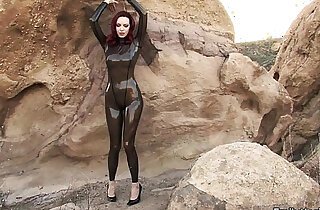 Emily Marilyn fetish model in latex catsuit
