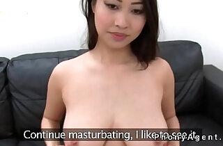 Busty Asian babe sucks and fucks fake agent