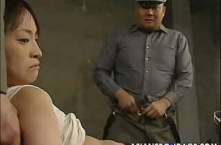 Japanese chick held down and stuffed with dicks