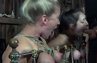 Tiedup bdsm subs bound together in rough trio