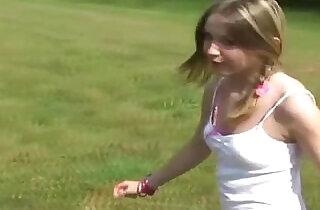 Innocent teen flashing her pink panties