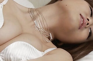 Gorgeous Nao in hot white lingerie masturbating