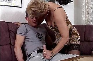 Horny blonde granny in stockings sucking