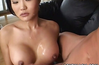 Asian slut sucks and gets ass fucked real rough