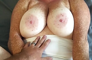 Cumshot on panties and tits fucking redhead in white thong